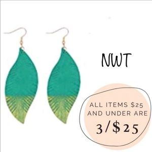 3/$25 NWT Genuine leather teal gold dipped feather fringe dangle earrings